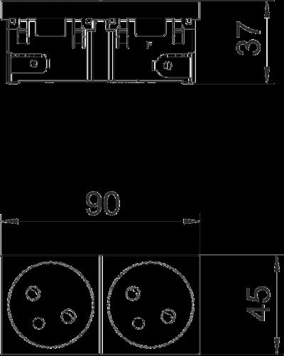 Схема Розетка 33° Connect 45 с заземляющим стержнем, двойная — арт.: 6120672