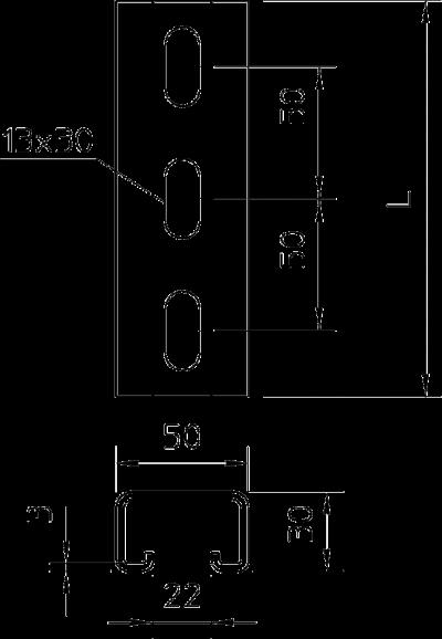 Схема Профильная рейка с шириной шлица 22 мм, перфорированная — арт.: 1121391