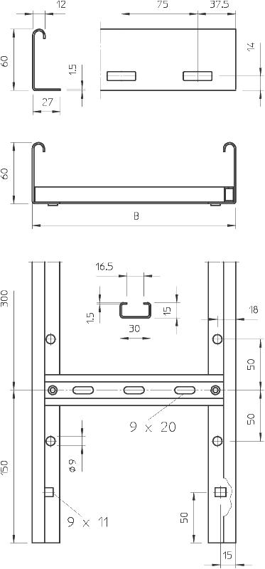 Схема Кабельный лоток LG 60 VS лестничного типа — арт.: 6208700