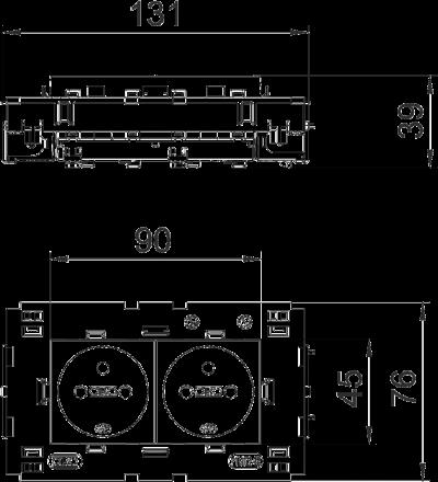 Схема Розетка 0° Connect 80 с заземляющим стержнем, двойная — арт.: 6120622