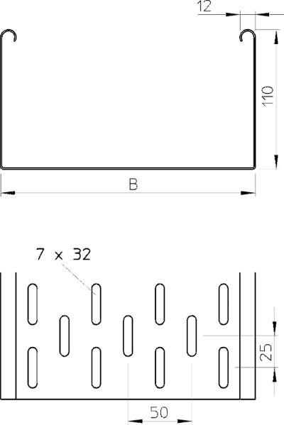 Схема Листовой кабельный лоток MKS — арт.: 6060803