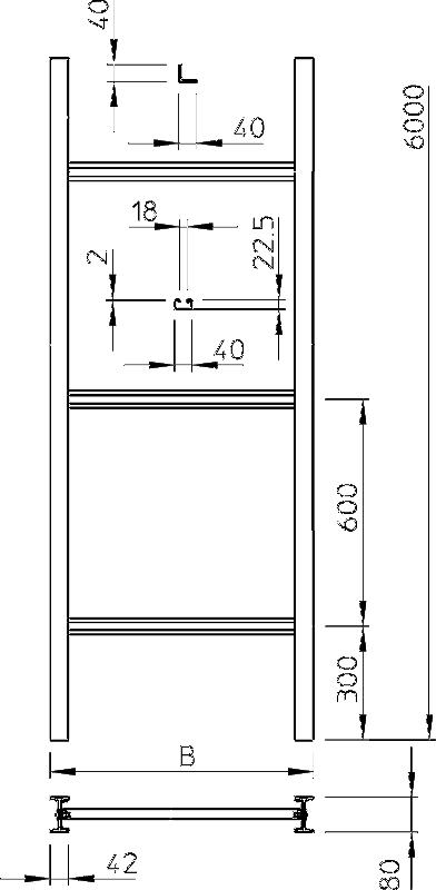 Схема Промышленный вертикальный кабельный лоток лестничного типа, с перекладинами C 40 — арт.: 6013384