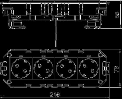 Схема Модульная рамка MT4 с модулем защиты от перенапряжений, укомплектованная 2 двойными розетками с защитным контактом, на 2 цепи тока, длина 208 мм — арт.: 7404638