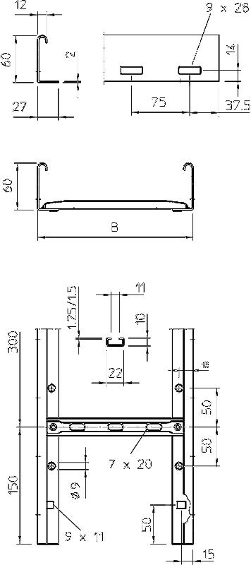 Схема Вертикальный кабельный лоток SLG лестничного типа для средних нагрузок, длина 6000 мм — арт.: 6207991
