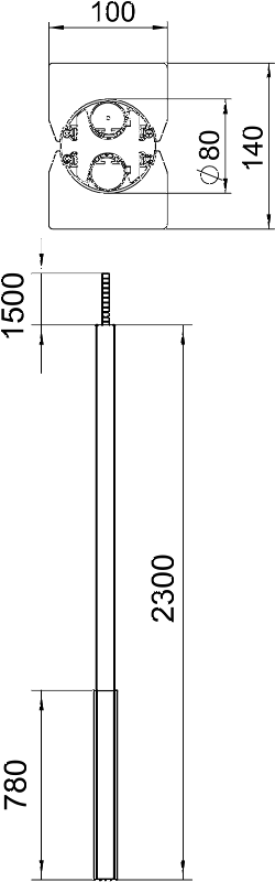 Схема Алюминиевая электромонтажная колонна ISS140100F — арт.: 6289050