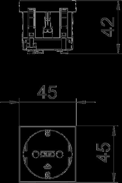 Схема Розетка 0° с защитным контактом, одинарная — арт.: 6120008