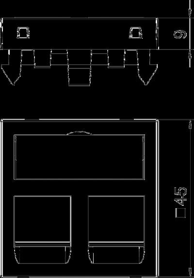Схема Корпус компьютерной розетки, ширина 1 модуль, с прямым выводом, тип PA — арт.: 6119226