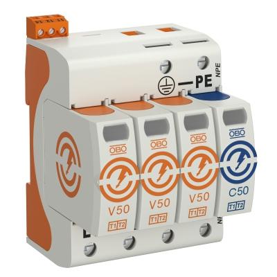 Комбинированный разрядник V50 3-полюсный + NPE с дистанционной сигнализацией, 150 В — арт.: 5093462