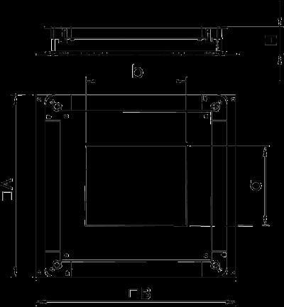 Схема Монтажное основание UZD250-3 с отверстием для прямоугольного лючка, для стяжки высотой 70 — 125 мм — арт.: 7410079