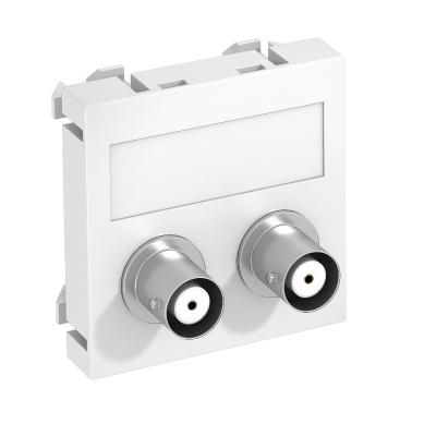 Мультимедийная рамка с 2 разъемами BNC, ширина 1 модуль, с прямым выводом, для соединения 1:1 — арт.: 6105090