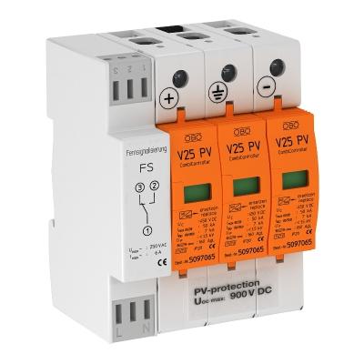 Комбинированный разрядник V25 для фотогальванических установок, 900 В постоянного тока, с дистанционной сигнализацией — арт.: 5097448