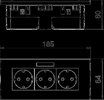 Схема Розетка AR45, тройная, с полем для надписи, для горизонтальной установки — арт.: 6119433