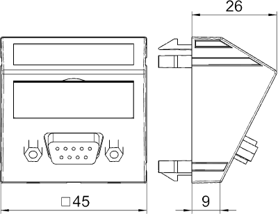 Схема Мультимедийная рамка с разъемом D-Sub9, ширина 1 модуль, с наклонным выводом, с соединительным кабелем — арт.: 6104694