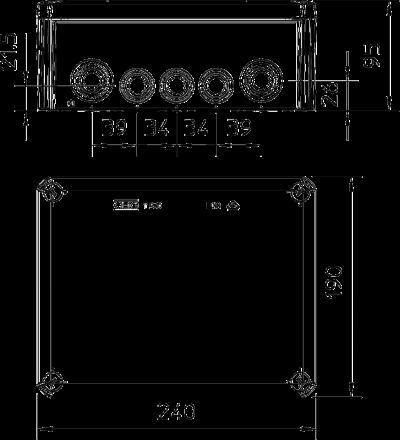 Схема Распределительная коробка Т-250 со вставным уплотнителем, трудновоспламеняемая — арт.: 2007363