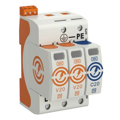 Разрядник для защиты от перенапряжений V20 2-полюсный + NPE, с дистанционной сигнализацией, 150 В — арт.: 5095322