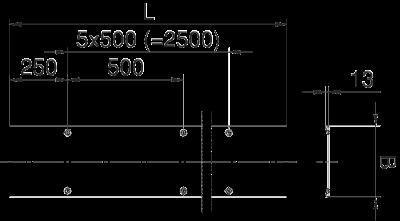 Схема Усиленная рифленая крышка с поворотным фиксатором, расстояние между фиксаторами 500 мм — арт.: 6049181