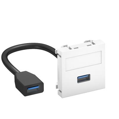Мультимедийная рамка с разъемом USB 2.0 / 3.0, ширина 1 модуль, с прямым выводом, с соединительным кабелем — арт.: 6104922