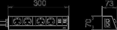 Схема Настольный бокс DB для мобильной установки, с 2 двойными розетками и 2 разъемами RJ45 CAT 6 — арт.: 6116918