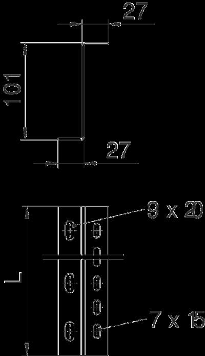 Схема Защитный профиль, для кабельного лотка с боковой стенкой высотой 100 мм — арт.: 6044581