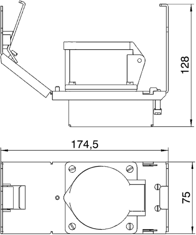 Схема Монтажная рамка для установки силовой розетки CEE, системная длина 165 мм, с розеткой — арт.: 7407663