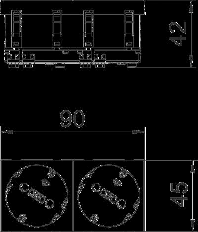 Схема Розетка 33° с защитным контактом, двойная — арт.: 6120102