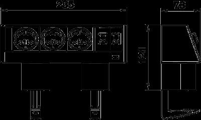 Схема Настольный бокс DB с крепежным зажимом, с 3 розетками и 2 разъемами RJ45 CAT 6 — арт.: 6116942