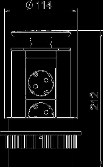 Схема Вертикальный настольный бокс DBV с 2 розетками — арт.: 6116854