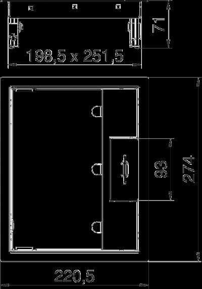 Схема Прямоугольный лючок GES6M-2 из нержавеющей стали, с ручкой — арт.: 7405299