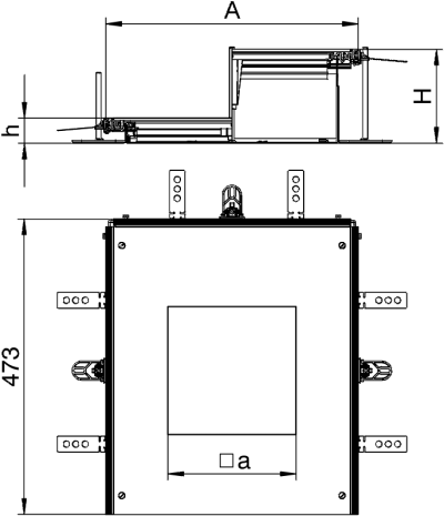 Схема Монтажная секция с крышкой для лючка GES4, высота 100 — 150 мм — арт.: 7424920