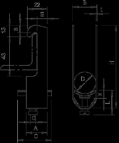 Схема Зажимная скоба 2-секционная, с пластиковой прижимной пластиной — арт.: 1181122