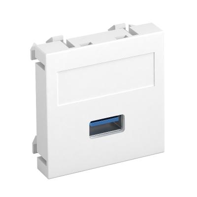 Мультимедийная рамка с разъемом USB 2.0 / 3.0, ширина 1 модуль, с прямым выводом, для винтового соединения — арт.: 6104874