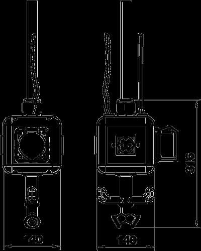 Схема Блок питания VH-4, с 3 розетками с защитным контактом и 1 розеткой CEE 16 A, с соединением для пневматического рукава — арт.: 6109814