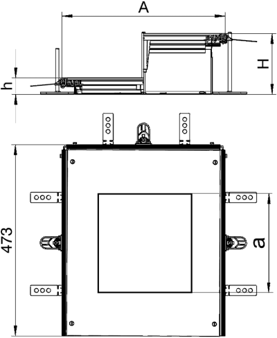 Схема Монтажная секция с крышкой для лючка GES9, высота 60 — 110 мм — арт.: 7424904