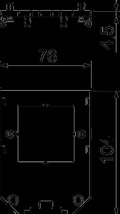 Схема Накладка для универсальной монтажной коробки UT3, с квадратным отверстием для электроустановочного изделия — арт.: 7408785
