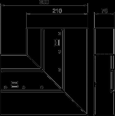 Схема Плоский угол восходящий, для кабельного короба высотой 70 мм — арт.: 6278020