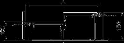 Схема Секция кабельного канала с крышкой для лючка GES4, высота 100 — 150 мм — арт.: 7424620