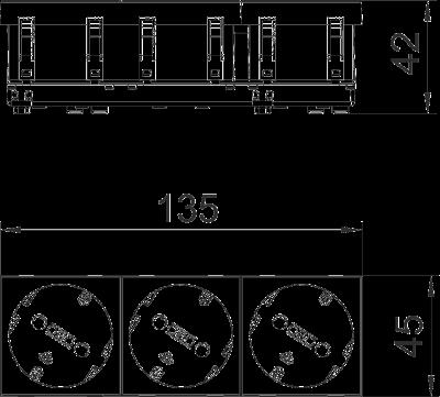 Схема Розетка 33° с защитным контактом, тройная — арт.: 6120122