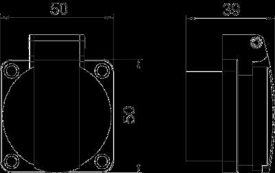 Схема Навесная розетка 0° с откидной крышкой, с защитным контактом, одинарная — арт.: 6109873