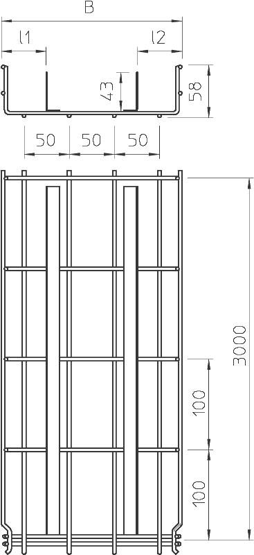 Схема Проволочный лоток GR-Magic® с разделительными полочками — арт.: 6006395
