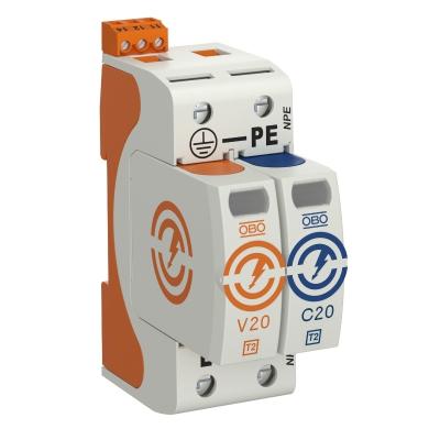 Разрядник для защиты от перенапряжений V20 1-полюсный + NPE, с дистанционной сигнализацией, 320 В — арт.: 5095341