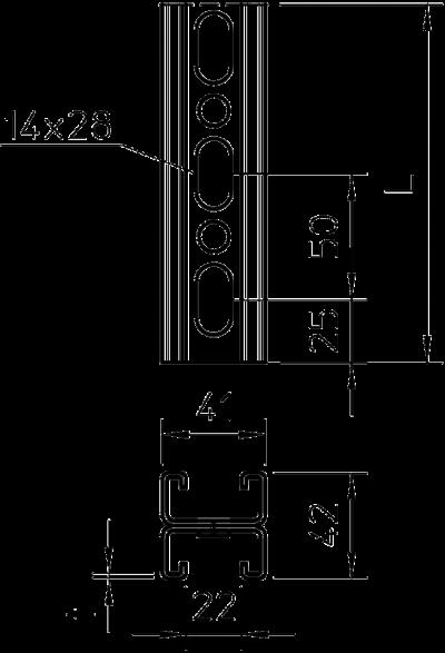 Схема Монтажная рейка MS 21, двойная конструкция — арт.: 1122947
