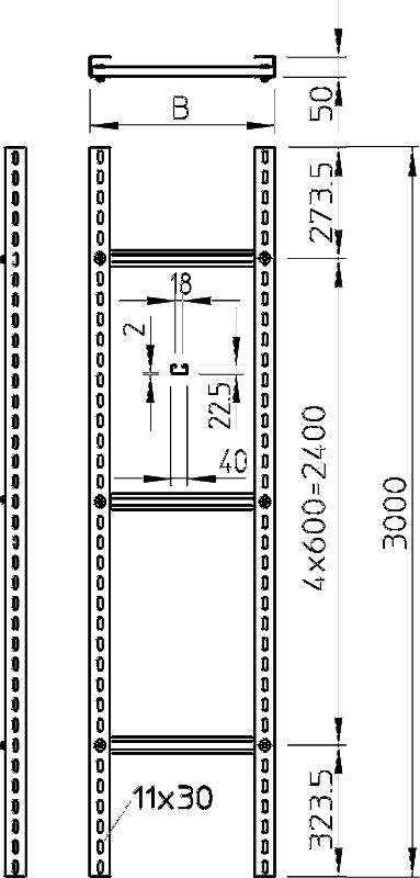 Схема Усиленный вертикальный кабельный лоток лестничного типа, длина 3000 мм — арт.: 6010466