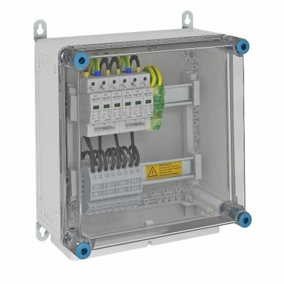 Системное решение для защиты преобразователей фотогальванических установок, в корпусе, с разрядниками типа 2, с 2 треккерами MPP, 1000 В постоянного т — арт.: 5088582