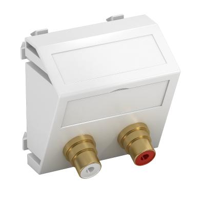 Мультимедийная рамка с 2 разъемами Audio-Cinch, ширина 1 модуль, с наклонным выводом, для соединения пайкой — арт.: 6105054