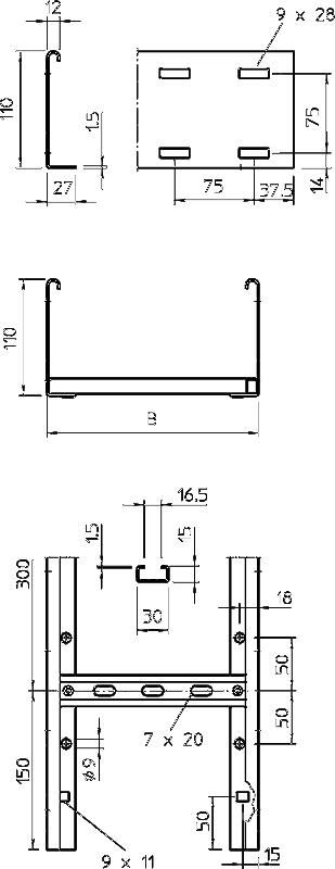 Схема Кабельный лоток LG 110 лестничного типа — арт.: 6216404