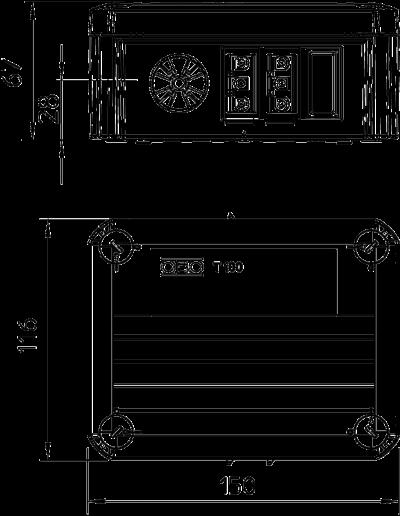 Схема Распределительная коробка T-100 WS 1S3 2S3D с гнездовым и штекерным разъемом Wieland — арт.: 2007876
