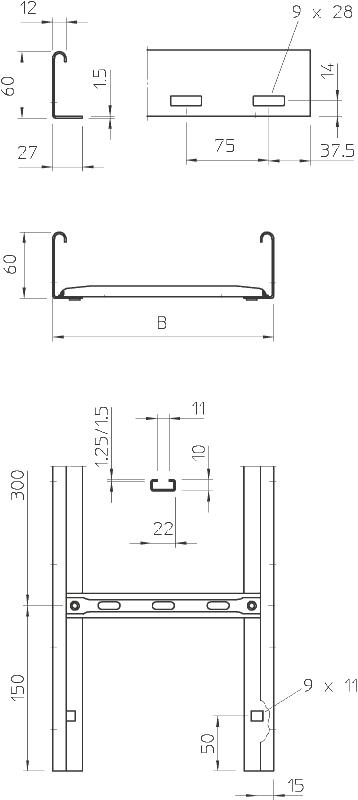 Схема Кабельный лоток LGN 60 NS лестничного типа — арт.: 6209301
