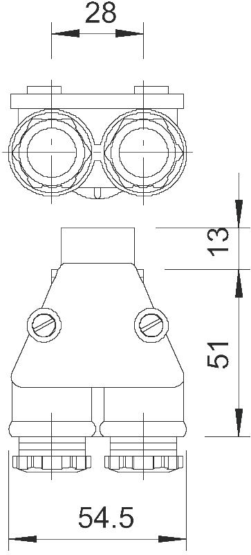 Схема Двойной кабельный ввод с метрической резьбой — арт.: 2024063