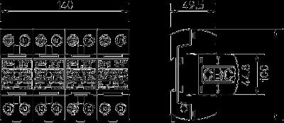 Схема Комбинированный разрядник 3-полюсный + NPE, с индикацией функций — арт.: 5096836
