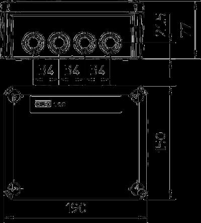 Схема Огнестойкая распределительная коробка FireBox T160ED с внутренним креплением и держателем — арт.: 7205556